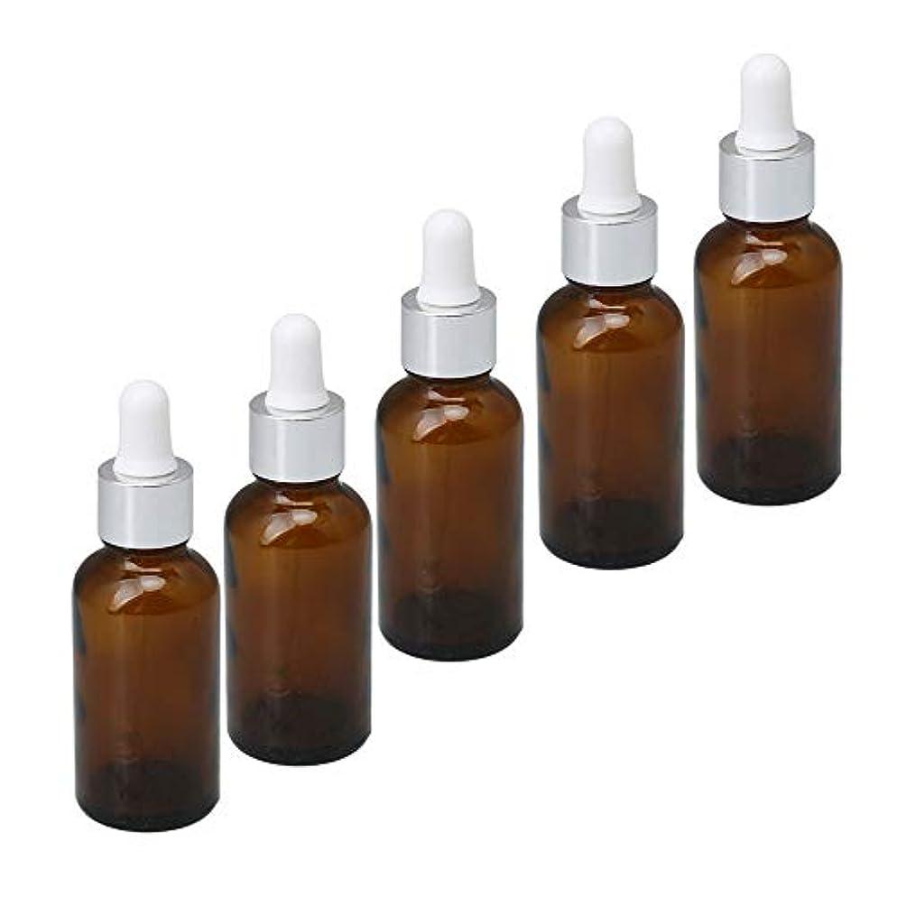 グループウェイド見込み30ml 遮光瓶 アロマオイル 小分け用 茶色 精油ボトル スポイトタイプ ガラス瓶 空容器 化粧水保存 収納 詰替え 旅行セット 5個セット 銀キャップ