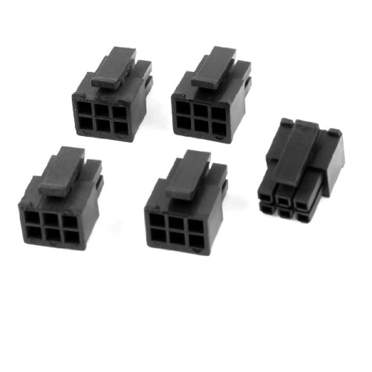 光沢シーボードヒロインuxcell ATX コネクタ アダプタ 6 ピン オス PCB パワー ブラック プラスチック 5個セット
