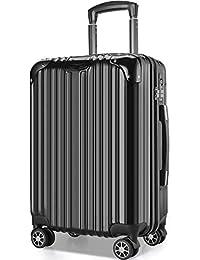 VARNIC スーツケース キャリーバッグ キャリーケース 機内持込 超軽量 大型 静音 ダブルキャスター 耐衝撃 360度回転 TSAローク搭載 ファスナー式 旅行 ビジネス 出張 人気色【永久保証】(7色3サイズ対応) (S サイズ(40.5L/機内持込), 黒)