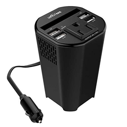 uvistare カーインバーター 150W シガーソケット 車載充電器 12V コンバーター カップホルダー・パワーインバーター デジタル表示 ディスプレイ 静音 ACコンセント USB4ポート ( 2.1A×2+1A×2) 日本語取扱説明書付き