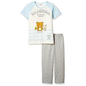 [リラックマ] 女児綿混天竺パジャマ袋付きTスーツパジャマ(半袖トップス+8分丈パンツ) 70834KD サックス 日本 130 (日本サイズ130 相当)