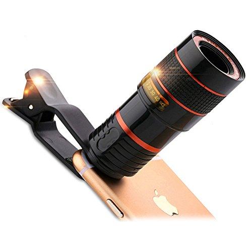 Melian望遠レンズ スマホユニバーサル クリップ式 単眼鏡 12倍 ズーム調整可能 撮影範囲大 10 - 1000メートル 望遠鏡 取り付け易い テレスコープ for iPhone Android 汎用 各種スマートフォン対応 運動会 コンサート等に最適