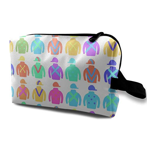 化粧ポーチ コンパクトサイズ,多彩な騎手Silks_3535、オックスフォードの布の多彩な袋の小型旅行