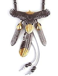 人気 メンズ ブランド SBG 黒 金 イーグル 3枚 フェザー 革ひも ネックレス 羽根 ペンダントトップ インディアンジュエリー