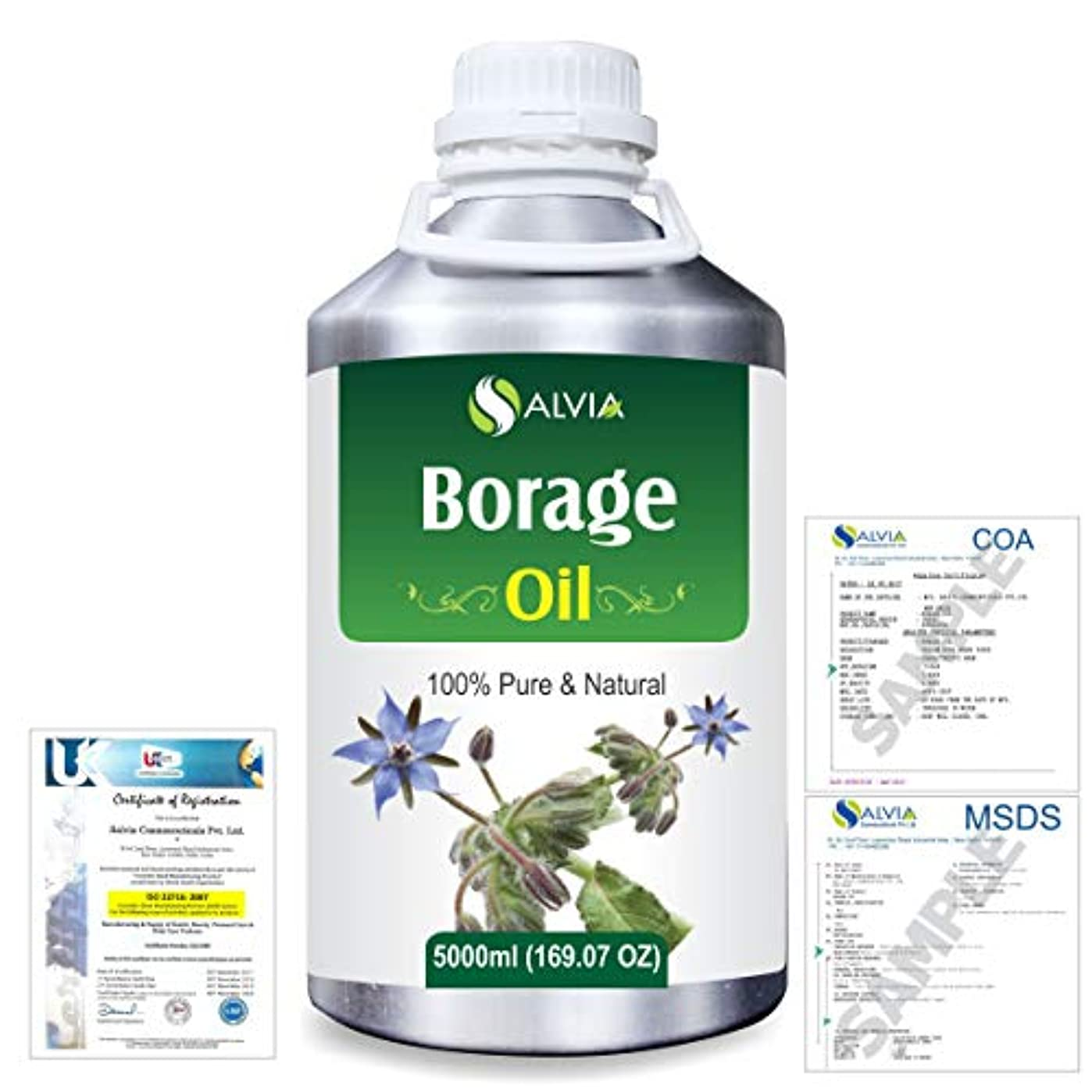 舌な慰め参加者Borage (Borago officinalis) Natural Pure Undiluted Uncut Carrier Oil 5000ml/169 fl.oz.