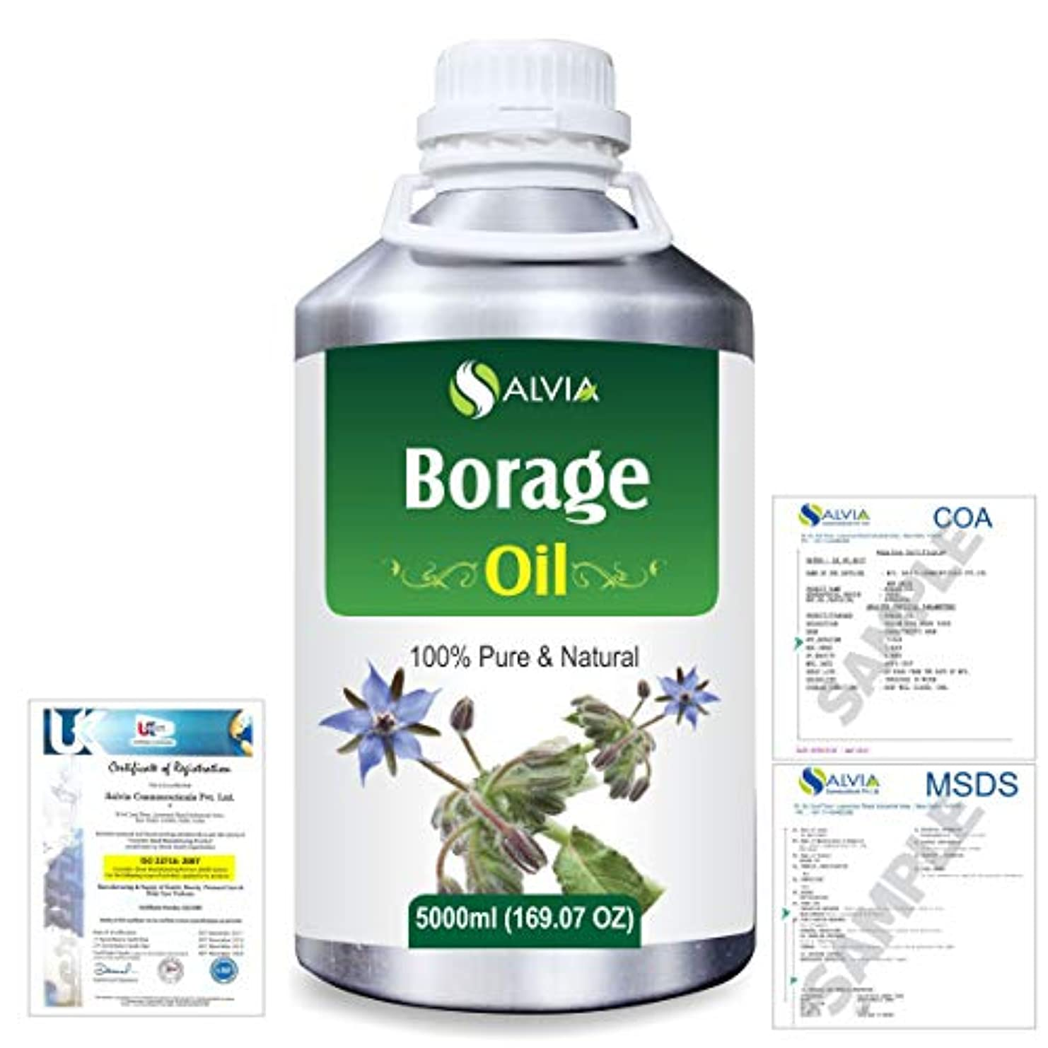 百万ドキドキ効果Borage (Borago officinalis) Natural Pure Undiluted Uncut Carrier Oil 5000ml/169 fl.oz.
