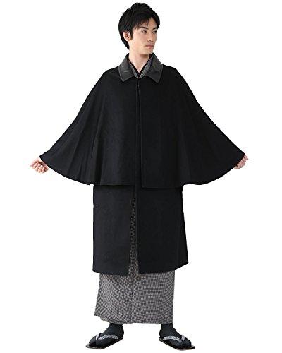 [キョウエツ] コート 和装コート トンビ/インバネス 二重回し カシミヤ混ウール メンズ
