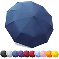 ZOMAKE Folding Umbrella - Compact Travel Umbrella Auto Open Close Lightweight Windproof Canopy Compact with Light Reflective Gift Waterproof bag Navy Blue