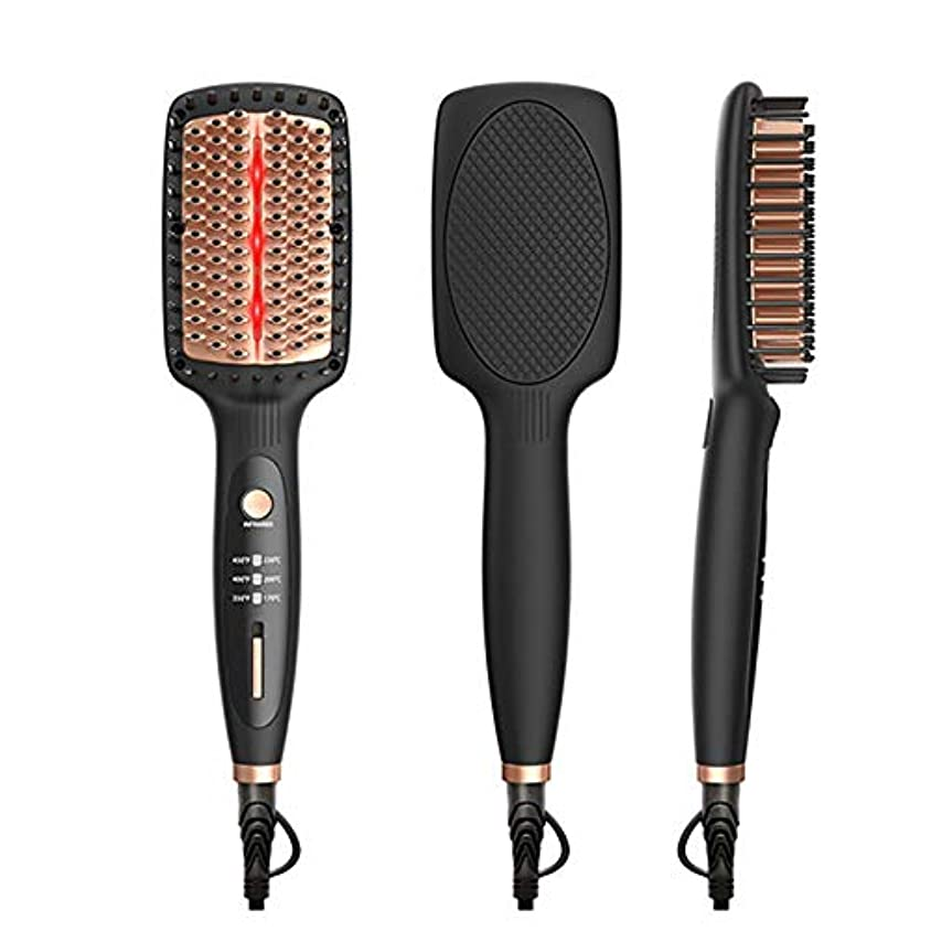 ストレートヘアブラシ、矯正ブラシ遠赤外線マイナスイオンストレートヘアコームセラミック抗熱傷ストレートヘアアイロン
