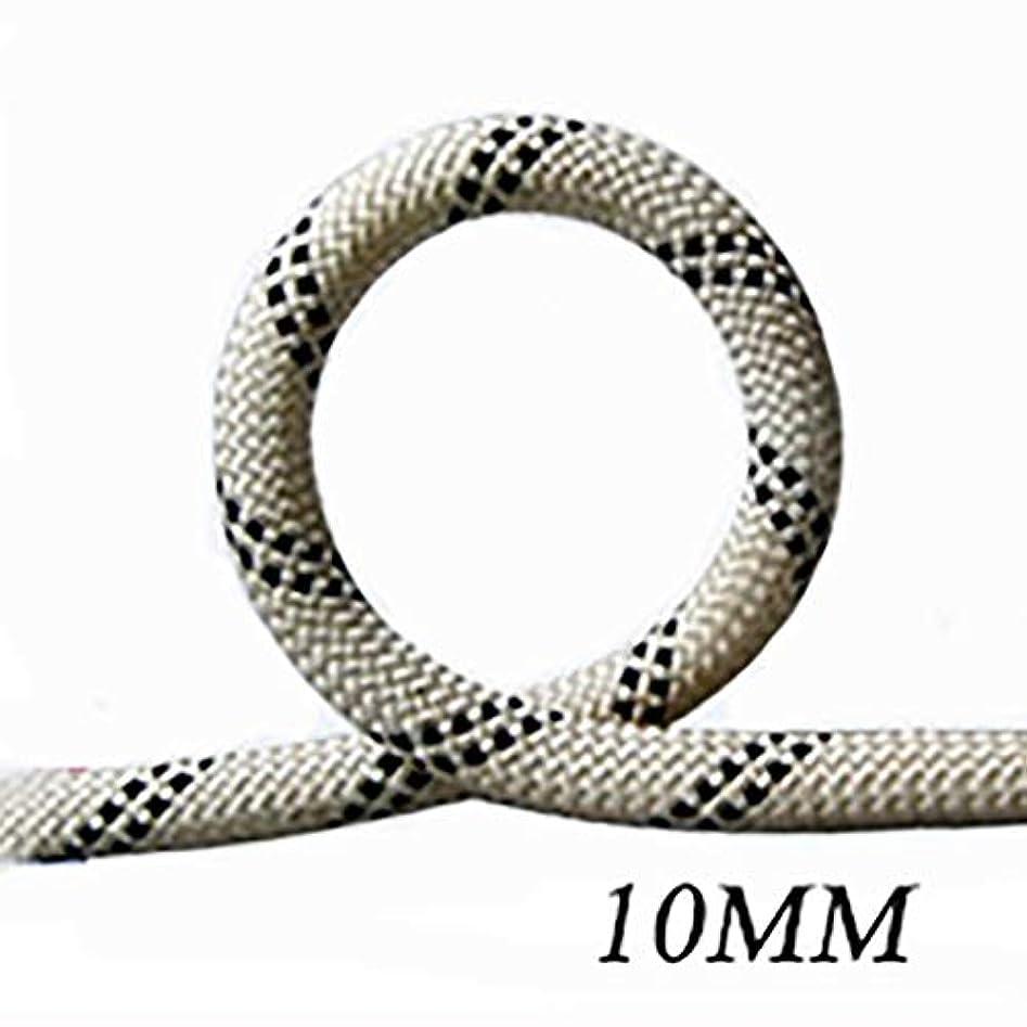 物理的な穀物ロープ(張り綱) スタティックロープ屋外登山用ラペリングロープナイロン耐摩耗クライミング用安全ロープΦ10MM(0.39mm)白黒 (Size : 15m(49.2ft))