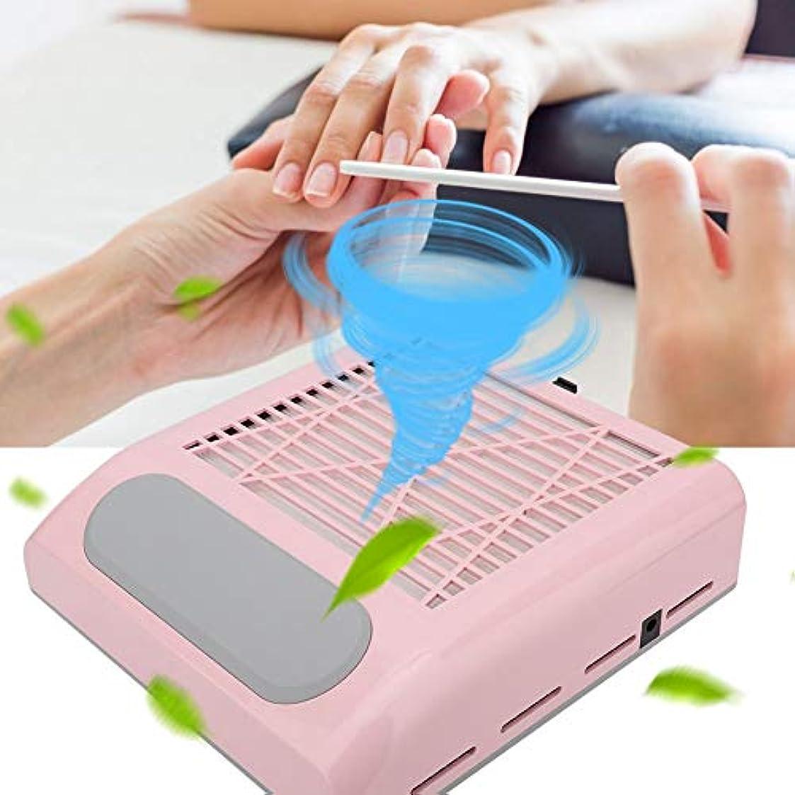 興奮する食料品店関係ないネイルダストコレクター、80W強力吸引ネイルアート掃除機マニキュアツール100-240V(US-ピンク)