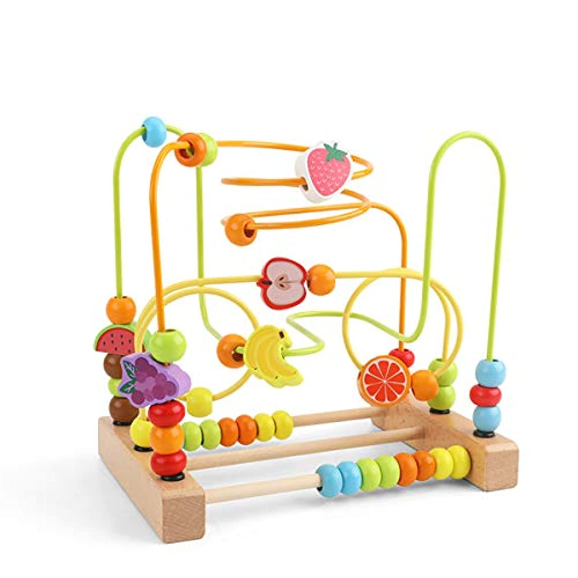 温室下に立派なfivekim 子供の学習おもちゃ、幼児のためのビーズの迷路おもちゃ木製のカラフルなジェットコースター教育サークルおもちゃA