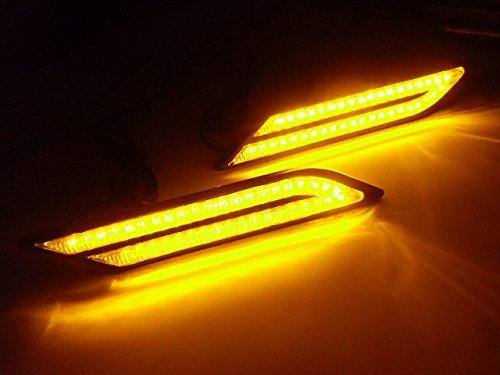 12V/BMW風LEDデイライト・サイドマーカー・補助ウィンカー/アンバー・黄色系オレンジ/ウィンカー連動可能 マーカーライト
