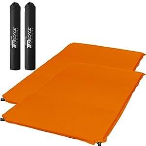 【2個セット】 FIELDOOR 車中泊エアマット 高密度ウレタンフォーム オレンジ (Lサイズ) 幅123cm×奥行198cm×厚み5cm