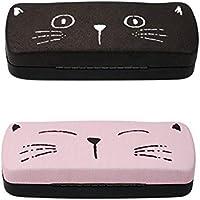 [2 PACK], JAVOedge Pink and Black Cute Cat Face Printed Hard Clamshell Eyeglass Storage Case with Bonus Microfiber Cloth