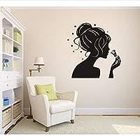 Hnzyf 女の子シルエット美容女性女の子ヘアステッカー理髪店ウォールステッカーアートビニールリビングルーム57×57センチ