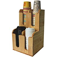 カップディスペンサー 紙カップと蓋収納 コーヒーカップ/調味料/シュガー/ストロー入れホルダー コンビニ、ビュッフェ、オフィスなど適用 バーカウンター収納ラック (木製) (Q)