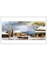 ホーム、感謝祭by Currier and Ives – 27 x 22インチ – アートプリントポスター LE_33759-F8989-27x22