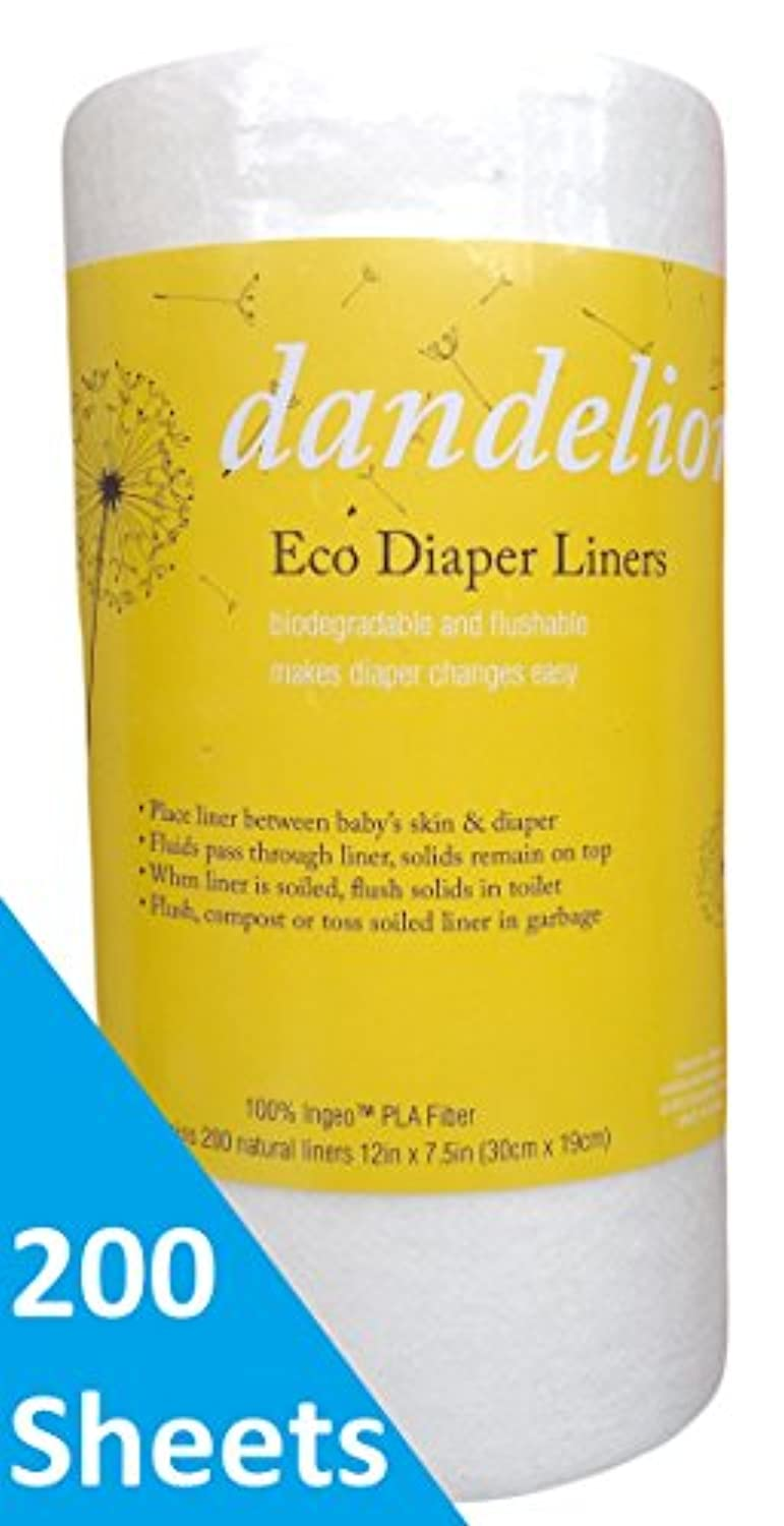 Dandelion Diapers Biodegradable Flushable Eco-Friendly Natural Diaper Liners, 100% Ingeo 200 Sheet Roll, Unscented by Dandelion Diapers