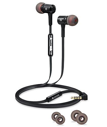 AudioMX 遮音カナル型インナーイヤ ステレオイヤホン 音量調節可能 マイク付き ブラック