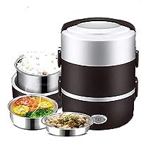NSSZ 電気ランチボックス、携帯用食品ランチヒーター、ミニ炊飯器の調理器具、3取り外し可能なステンレス製の容器のランチボックス