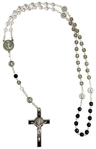 [해외]이탈리아 유리 묵주 세인트 베네딕트 케이스 (RE1627-C)/Italian made glass Rosary with St. Benedict case (RE 1627-C)