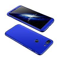 OnePlus 5T ケース One Plus 5T 360°フルカバー 3パーツ式 耐衝撃 ぴったりフィット ストラップホール付 軽量 防指紋 カメラ擦り防止 業界 全面保護カバー (強化硝子フイルム含めません) (ブルー)