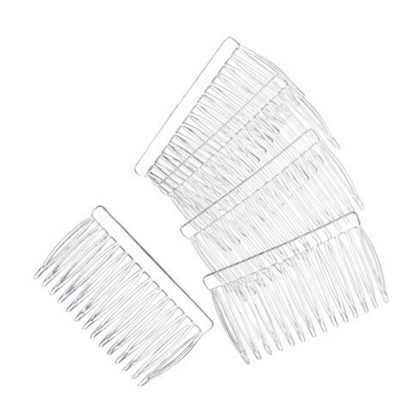 JUXINDA 14 Clear Plain plastic Smooth Hair Clips/Combs 2 3/4