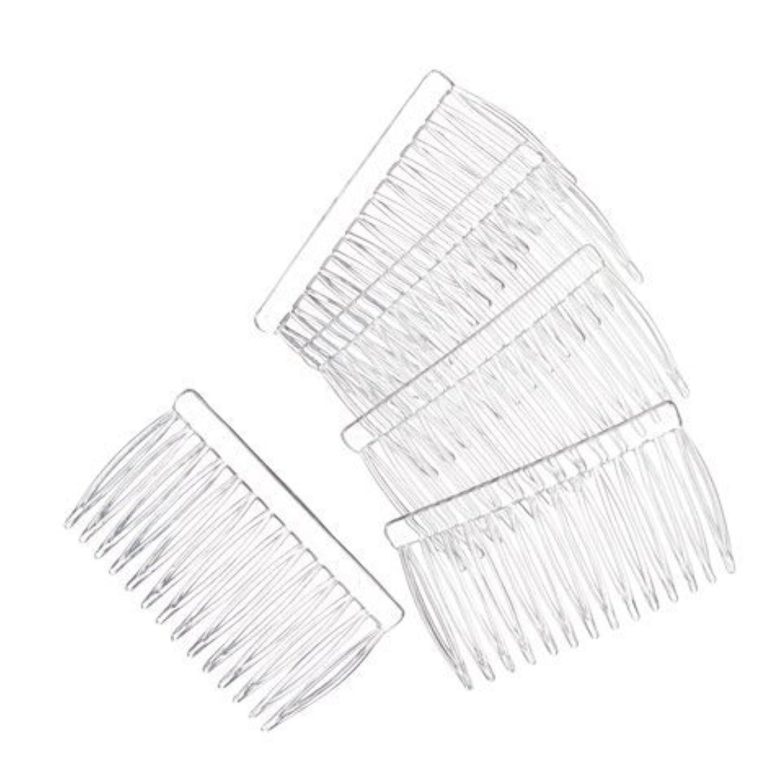 お客様間接的寺院JUXINDA 14 Clear Plain plastic Smooth Hair Clips/Combs 2 3/4