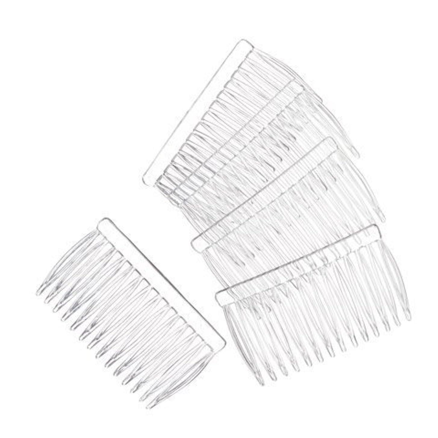 傾いた決定的生JUXINDA 14 Clear Plain plastic Smooth Hair Clips/Combs 2 3/4