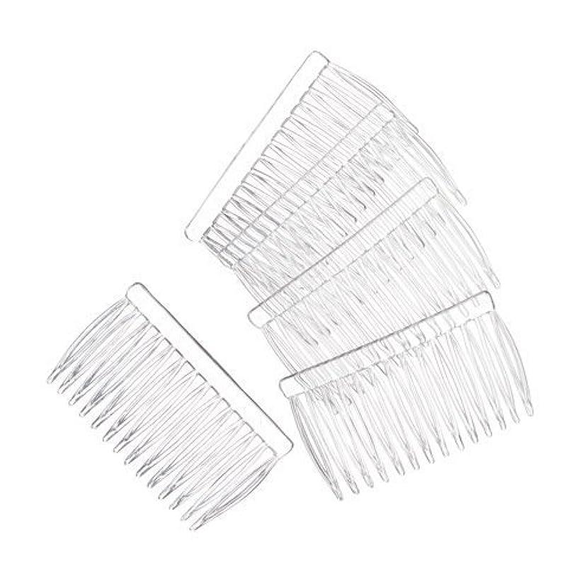 老人アラブツインJUXINDA 14 Clear Plain plastic Smooth Hair Clips/Combs 2 3/4