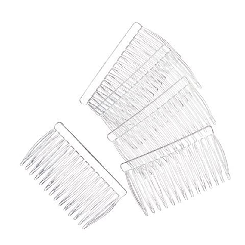 腸委任援助JUXINDA 14 Clear Plain plastic Smooth Hair Clips/Combs 2 3/4