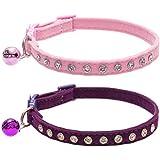BINGPET Cat Collar with Bells Breakaway, Soft Velvet Safe Adjustable Collars with Bling Diamante, Pink&Purlpe, 2 Pack