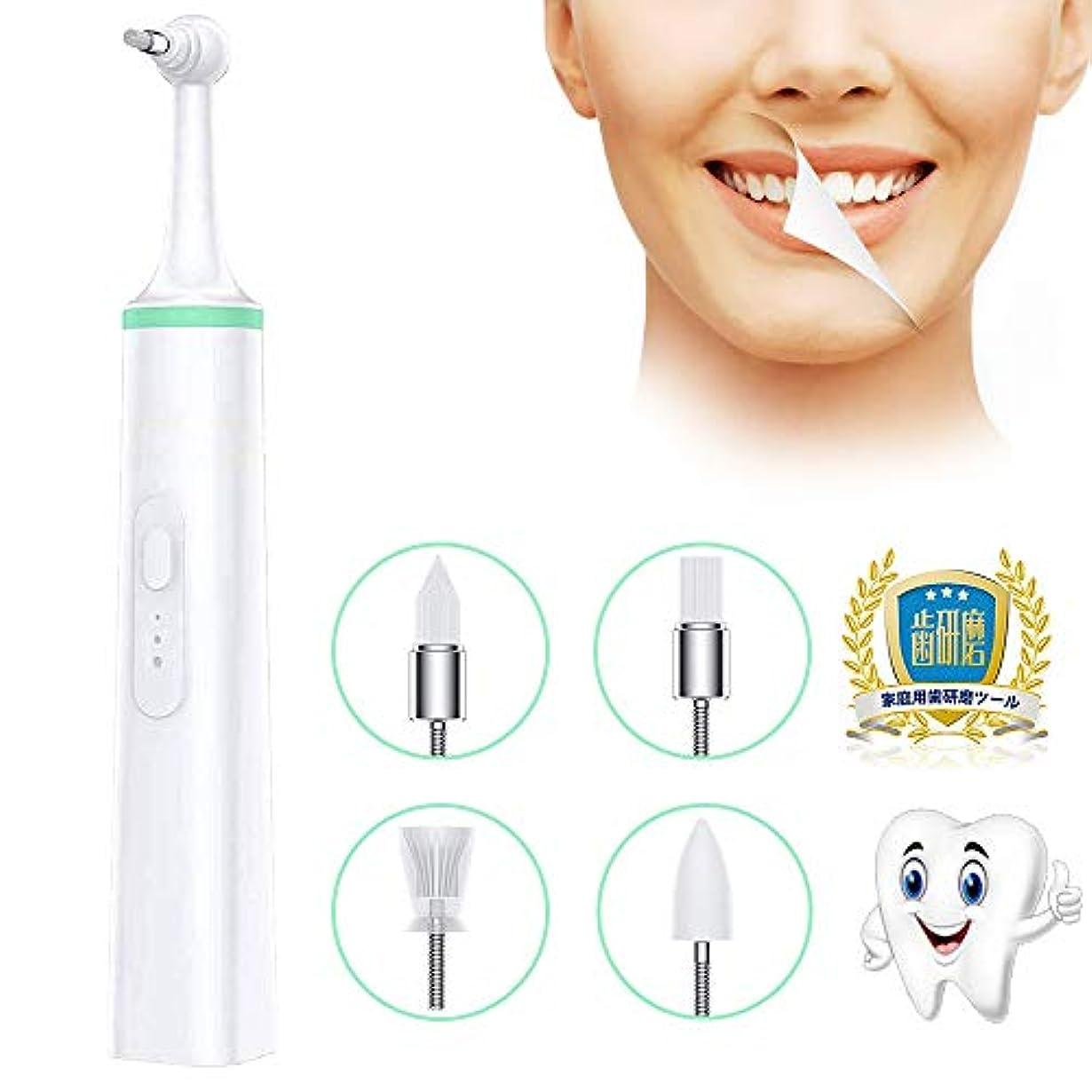 電動歯ブラシ 歯用ツール 振動デンタルクリーナー 歯石取り 高周波振動 USB給電式 3段階調節 交換用ヘッド4個付き 日本語説明書付き (改良版)