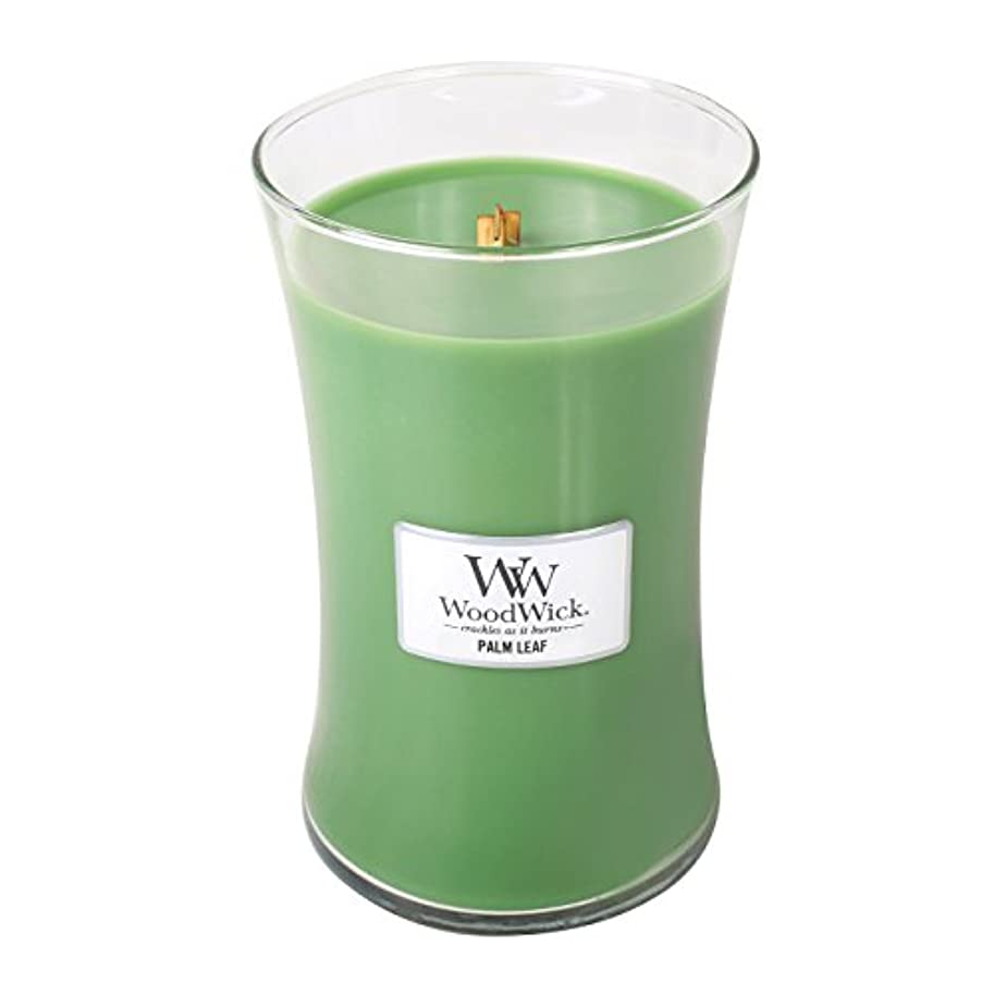 奪うショッキングヒップWoodWick PALM LEAF, Highly Scented Candle, Classic Hourglass Jar, Large 18cm, 640ml