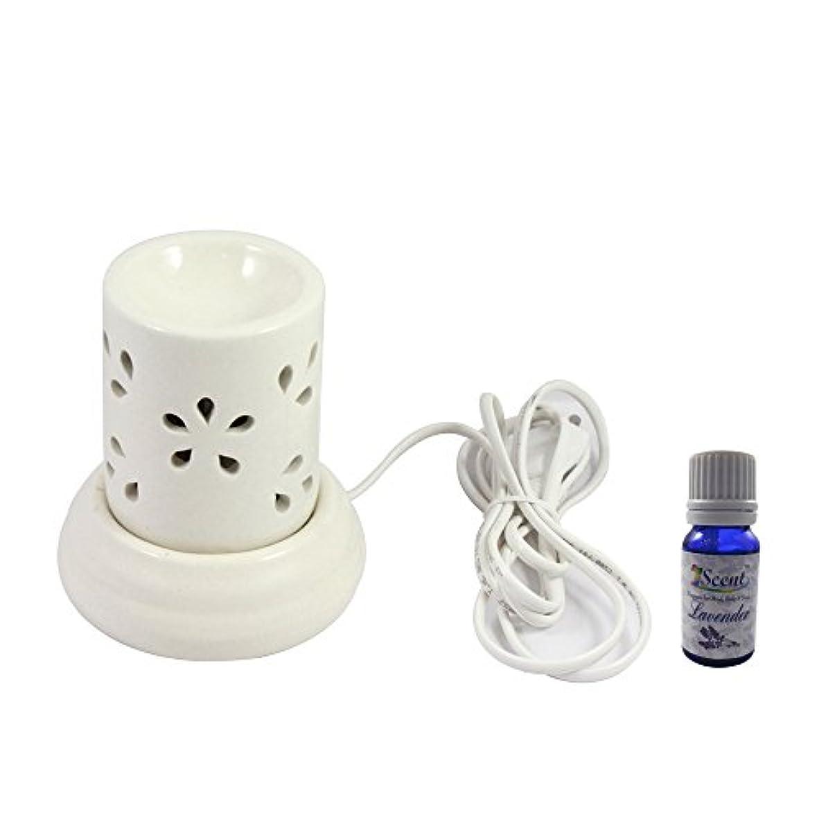 瞑想的止まる進行中家庭装飾定期的に使用する汚染されていない手作りセラミックエスニック電気アロマディフューザーオイルバーナージャスミンフレグランスオイル|良質白い色の電気アロマテラピー香油暖かい数量1