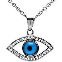 EVERLEAD 28mm Czech Evil Eye Pendant Necklace 316L Stainless Steel with Free Chain
