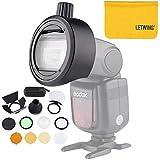 Godox AK-R1 AD200 Round Head Flash Light Accessories with Godox S-R1 Round Head Accessories Adapter for Godox V850II V860II TT685 TT600 and Canon Nikon Sony Camera Flash