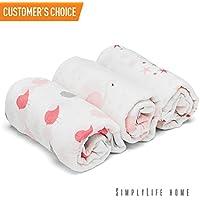 SimplylifeホームGirlおくるみブランケットベビーラップ、ソフト通気性モスリンコットン、調節可能な幼児の受信のSwaddles、完璧スワドリングラップ新生児女の子、授乳またはベビーカーカバー、Burp Cloth (3 - Pack)