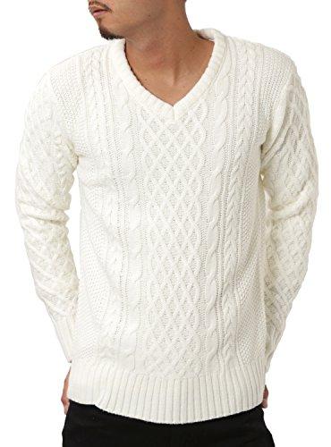 JIGGYS SHOP (ジギーズショップ) ニット セーター メンズ Vネック ケーブル編み 厚手 長袖 防寒 ボーダー アメカジ S B ホワイト