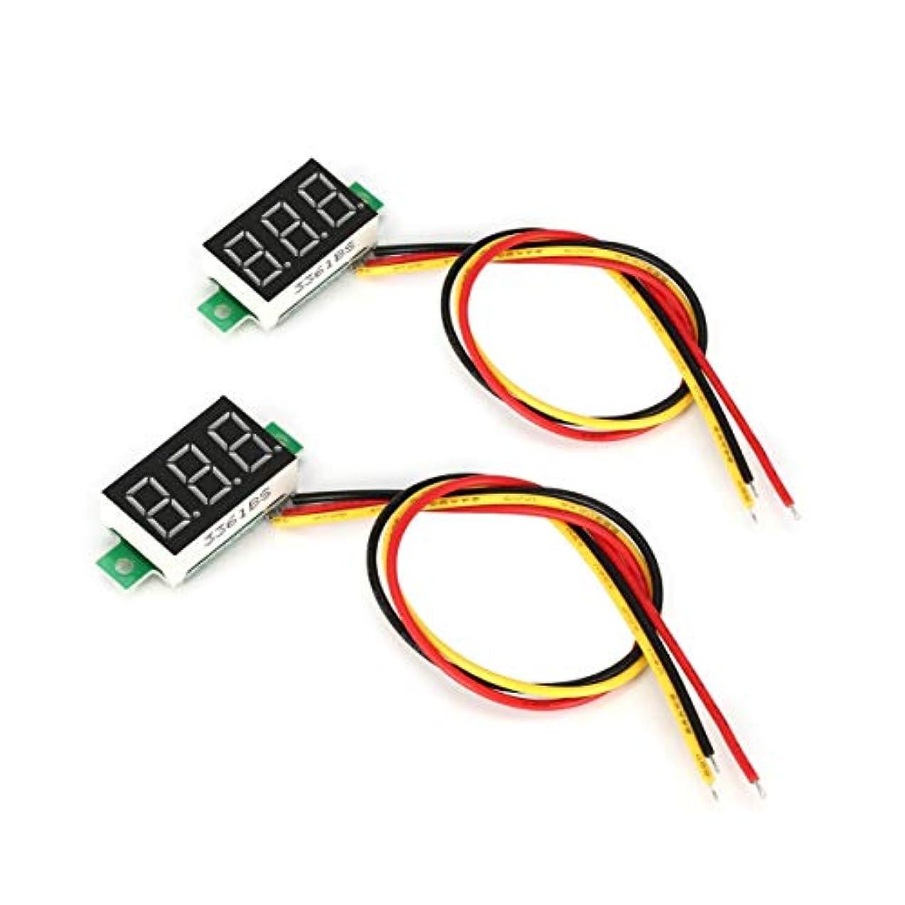 接地幸運なことに共産主義2PCS 0-100V 0.36in 3線式LEDデジタル電圧計電圧計カーボルトテスター