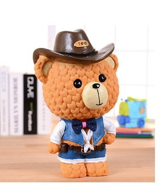 マネー バンク 漫画の愛の熊は缶を変える愛らしいカウボーイの熊のピギーバンクの樹脂の装飾(ミディアム)