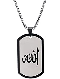 ステンレススチールAllah犬ペンダントネックレス、アラビア語イスラムイスラム教宗教ジュエリー