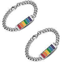 EXTREE Couple Bracelet, Pride Braided Rope Bracelet, Relationship Gifts, LGBT Handmade Rainbow Bracelet