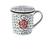 西田(Nishida) 蓋付マグカップ(赤い椿)400ml/コップ/カップ/和食器 120021