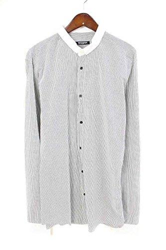 (バルマン) BALMAIN ナローカラーダメージクレリックストライプシャツ(40/ホワイト×グレー) 中古