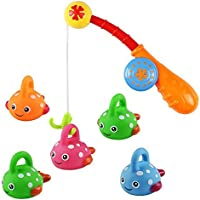 Jerryvon Bath Toy Fishing Games with Cute Floating Fishes 5pcs and Fishing Rod Bathtub Fun Time for Kids Girls Boys(Color Vary) [並行輸入品]