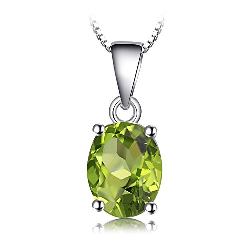 JewelryPalace 天然石 誕生石 8月 ぺリドット ネックレス ペンダント スターリング シルバー 925 チェーン 45cm