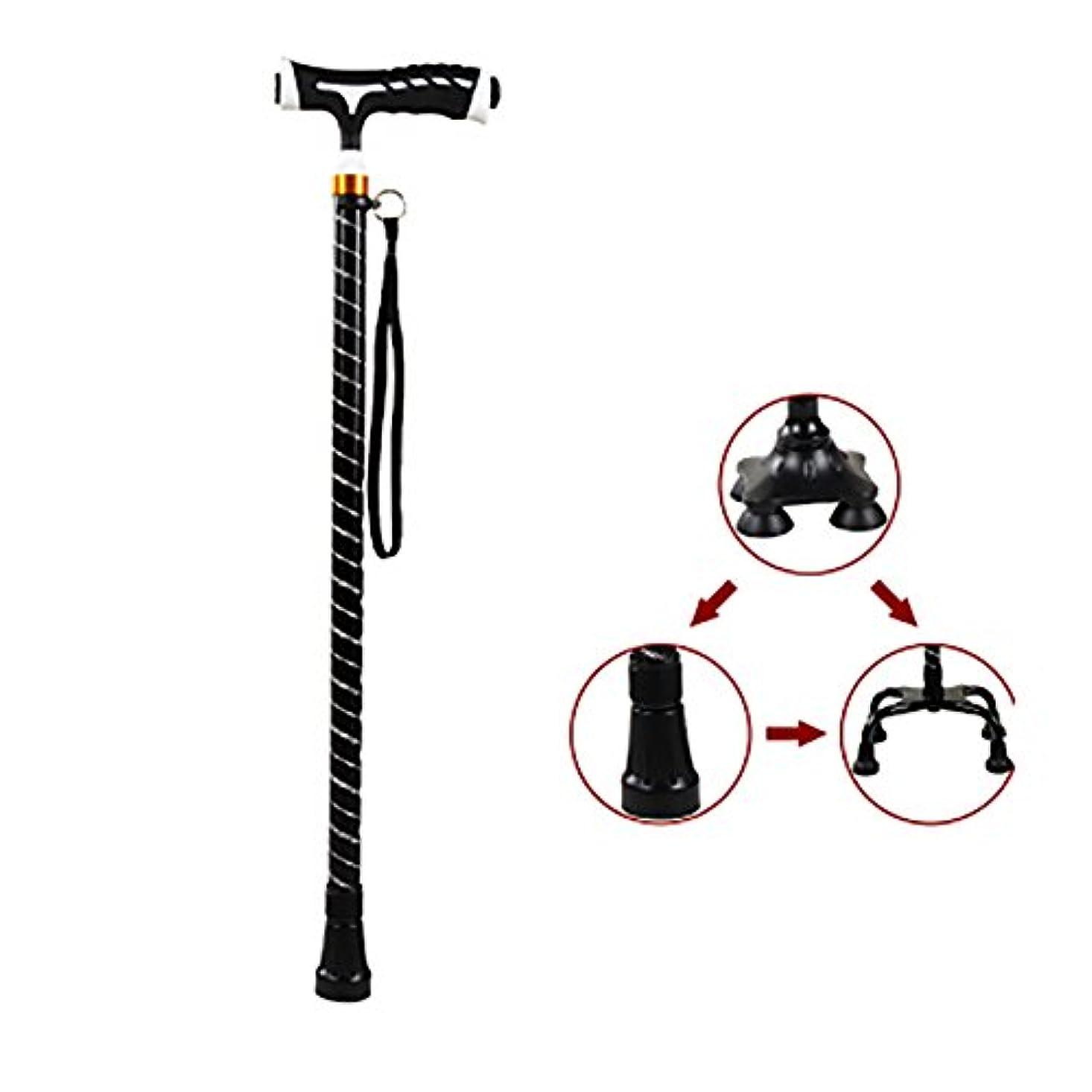 不測の事態閉じる旅客XUEPING 杖の高齢者は、1つの足で4つの足を収縮可能な歩行スティックの調整範囲60 cmから96 cmの2色を松葉杖 ( 色 : ブラック , サイズ さいず : E )