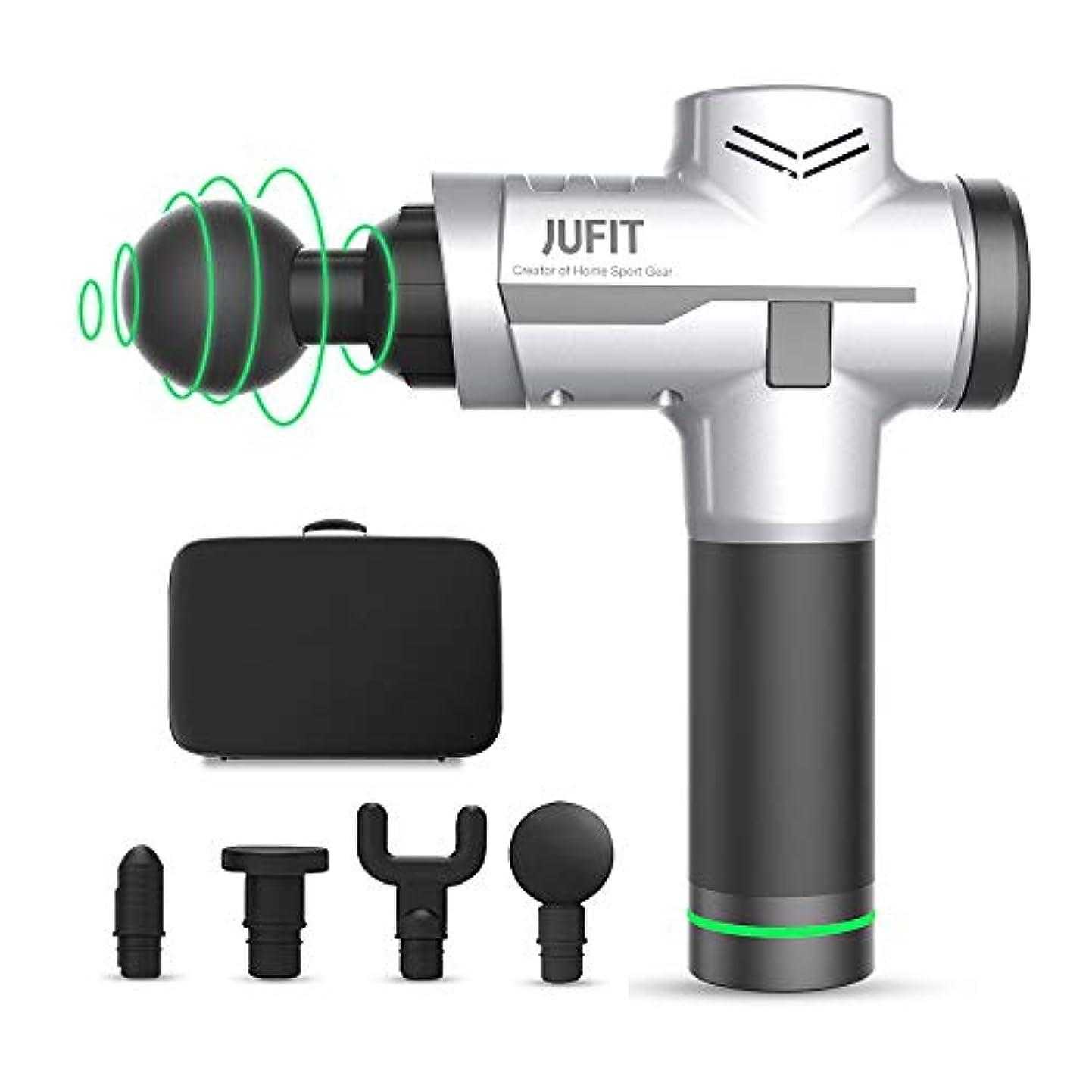 引き金悔い改め乱気流JUFIT Fascia Massage Gun/Muscle Massage Gun with 6 Speed Levels and 4 Replaceable Massager Heads Handheld Cordless...